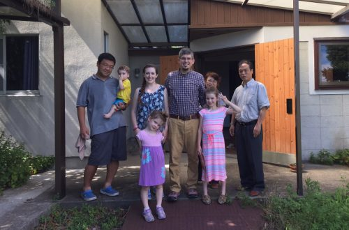 With a couple of members of the Sendai Church of Christ after a visit in August 2016