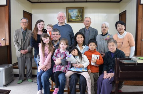 After the baptism of our new sister Nao at the Matsudo church building