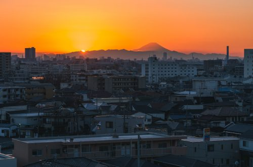 Sunset over Mastudo, looking towards Tokyo & Mt. Fuji.